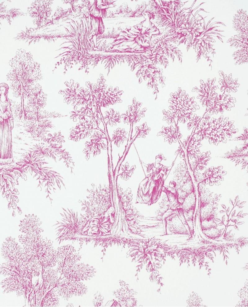 papier peint esta home love toile de jouy rose 136819. Black Bedroom Furniture Sets. Home Design Ideas