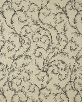 Tissu Casadeco Toile de Jouy Fontainebleau Arabesques Lin Noir FONS81799107