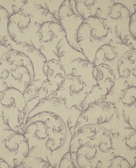 Tissu Casadeco Toile de Jouy Fontainebleau Arabesques Lin Prune FONS81795118