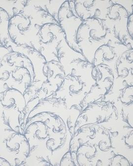 Tissu Casadeco Toile de Jouy Fontainebleau Arabesques Bleu porcelaine FONS81786521