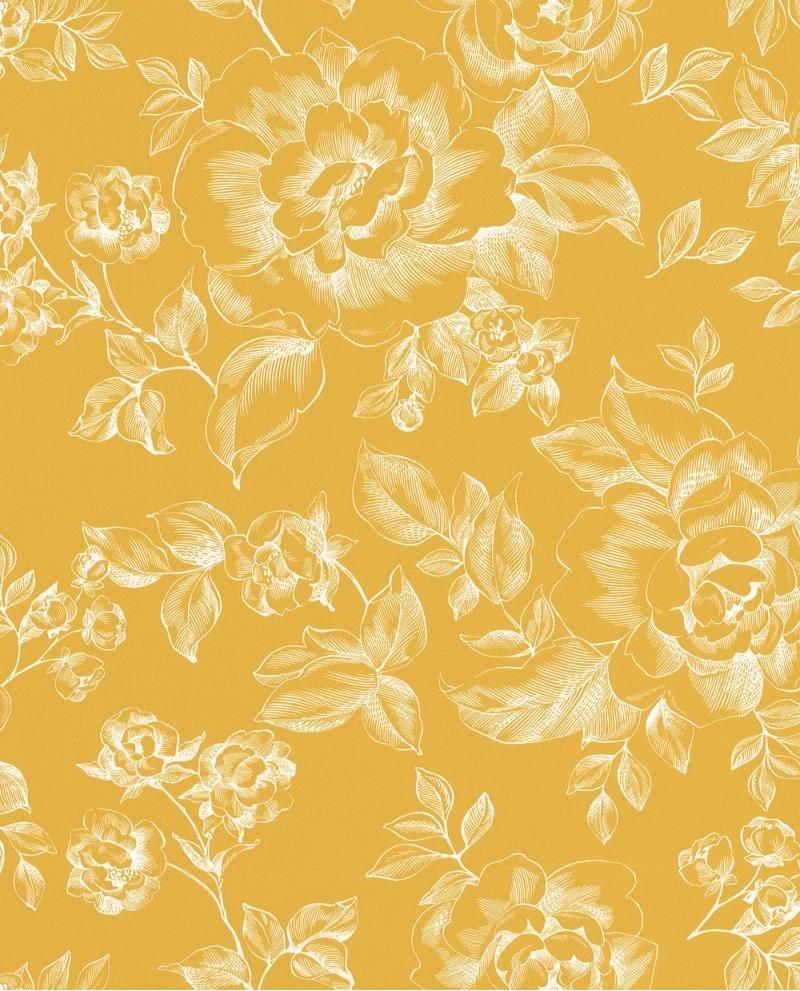 Papier Peint Jaune Moutarde papier peint caselio smile a fleur de peau jaune 69842505