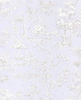 Papier peint Casadeco Toile de Jouy Fontainebleau Arbre Gris fond bleu FONT81526106