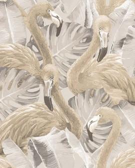 Papier peint Lutece Globe Trotter Flamants rose beige G56404