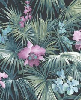 Papier peint Lutece Globe Trotter Orchidées bleu G56433