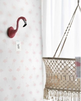 Papier peint Esta Home Little Bandits Flamants rose et blanc 138918