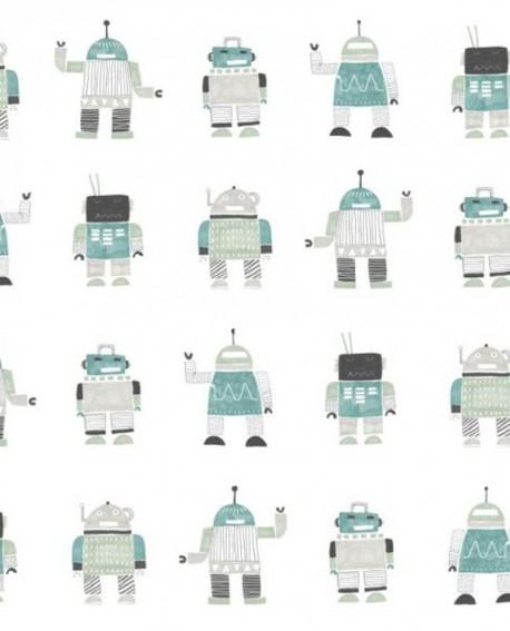 Papier peint Esta Home Little Bandits Robots jouets vert menthe et bleu 138938