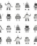 Papier peint Esta Home Little Bandits Robots jouets noir et blanc 138939