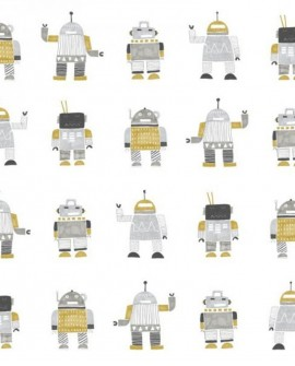 Papier peint Esta Home Little Bandits Robots jouets ocre jaune 138940