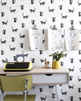 Papier peint Esta Home Little Bandits Chatons noir et blanc 138928
