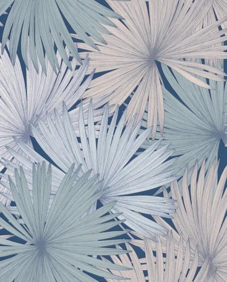 Papier peint Caselio Jungle Feuilles de Palmiers pastel fond bleu nuit 100046919