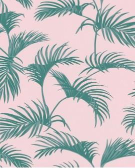 Papier peint Caselio Jungle Palmes vert fond rose 100037900