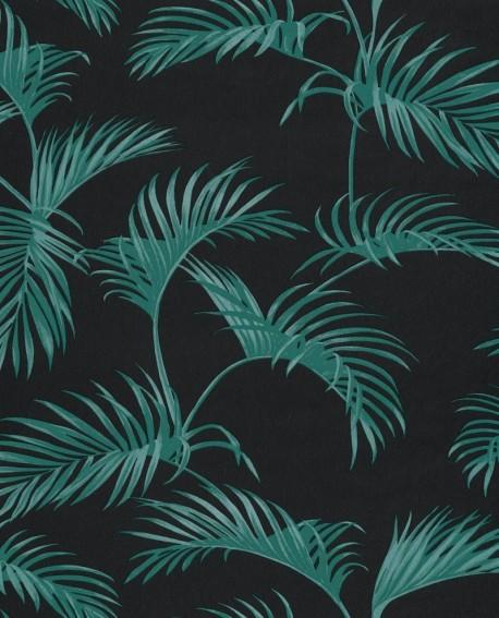 Papier Peint Caselio Jungle Palmes Vert Fond Noir 100037717