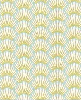 Papier peint Caselio Jungle Palmes stylisées Jaune et vert 100056606