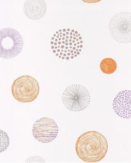 Papier peint Casélio Pretty Lili Soleils Violet et orange 69243030