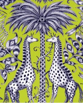 Papier peint Clarke & Clarke Animalia Kruger Lime W0102/03