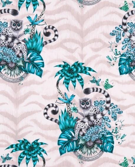 Papier peint Clarke & Clarke Animalia Lemur Pink W0103/04