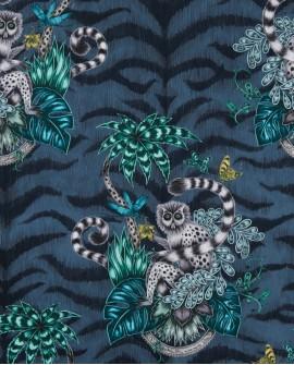 Papier peint Clarke & Clarke Animalia Lemur Navy W0103/03