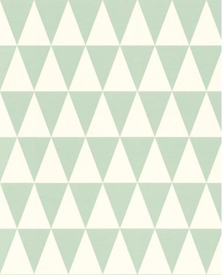 Papier peint Esta Home Little Bandits Triangle vert menthe et blanc 128843