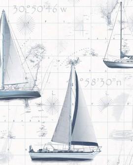 Papier peint Lutece Globe Trotter Yacht Bleu G56420