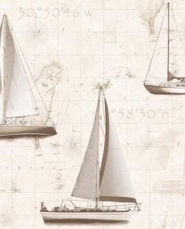 Papier peint Lutèce Globe Trotter Yacht Sepia G56422