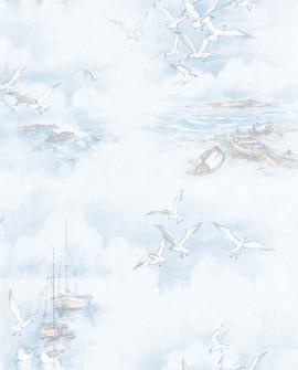 Papier peint Lutece Globe Trotter Barques et mouettes Bleu G56423