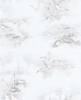 Papier peint Lutece Globe Trotter Barques et mouettes Gris G56424