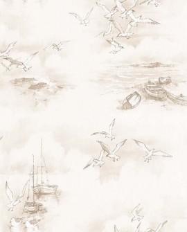 Papier peint Lutece Globe Trotter Barques et mouettes Marron G56425