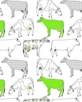 Papier peint Lutèce Style Cuisine 3 Vaches fantaisie Vert fluo KE29928