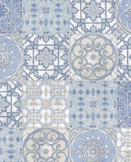 Papier peint Lutèce Style Cuisine 3 Faïence Bleu KE29950