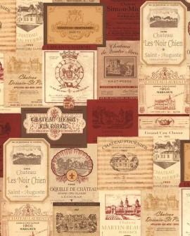 Papier peint Lutèce Style Cuisine 3 Label Grands Crus Rouge KK26754