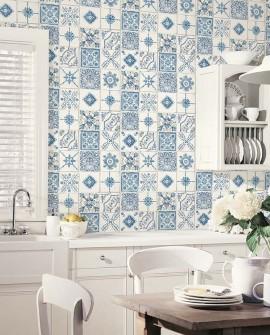 Papier peint Lutèce Style Cuisine 3 Faïence Bleu CK36621