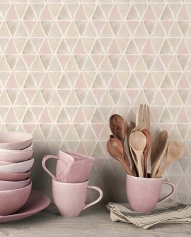 Papier peint Lutèce Style Cuisine 3 Allover Triangle Beige Rose CK36636