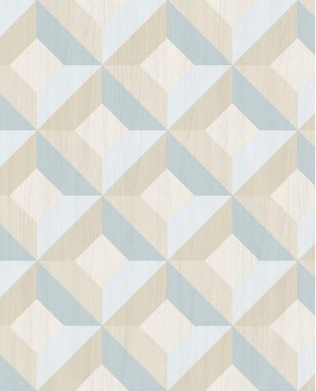 Papier Peint Lutece Style Cuisine 3 Carre Geometric Bleu Ck36618