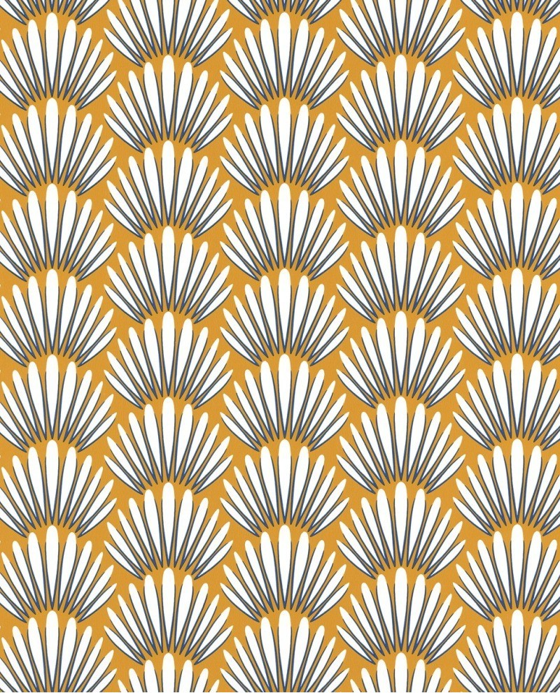 Papier Peint Jaune Moutarde papier peint caselio jungle palmes stylisées moutarde 100053434