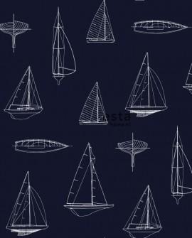 Papier peint Esta Home Regatta Crew Voiliers Bleu 136428