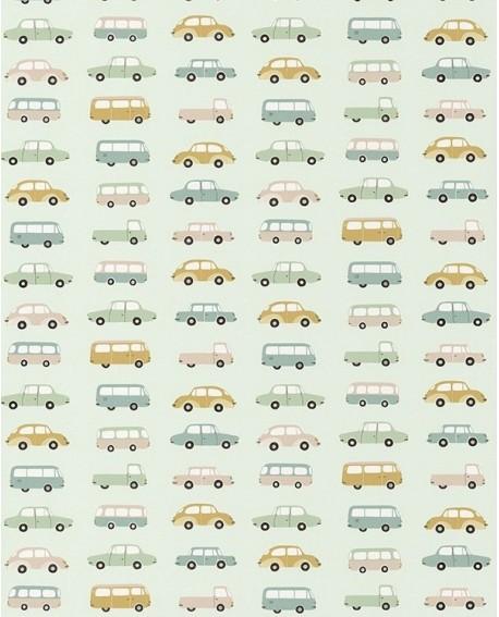 Papier peint Casadeco Happy Dreams Vintage Cars Menthe/vert HPDM82767315