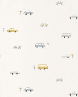 Papier peint Casadeco Happy Dreams Vintage Cars Bleu/jaune HPDM82776216