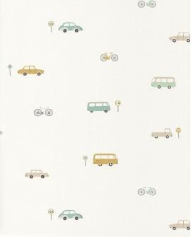Papier peint Casadeco Happy Dreams Vintage Cars Menthe/vert HPDM82777317