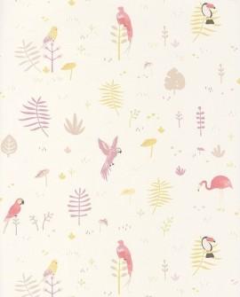 Papier peint Casadeco Happy Dreams Tropical Parme HPDM82925203