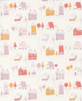 Papier peint Casadeco Happy Dreams Small Village Rose/corail HPDM82841230