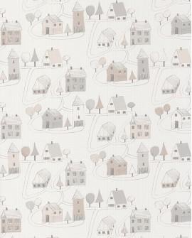 Papier peint Casadeco Happy Dreams Small Village Gris/beige HPDM82841329
