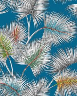 Tissu Thevenon Palmy fond lagon