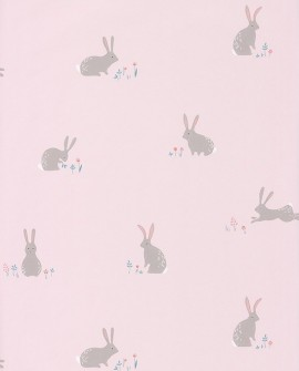 Papier peint Casadeco Happy Dreams Bunny Corail/rose HPDM82744111