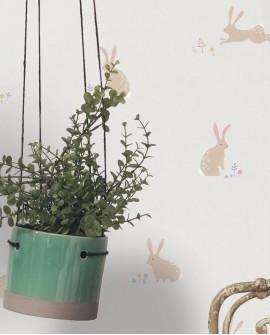 Papier peint Casadeco Happy Dreams Bunny Corail/rose HPDM82744111