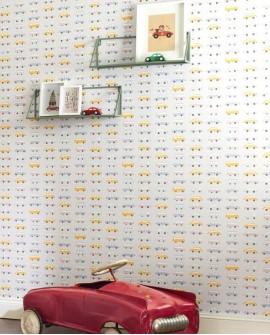 Papier peint Casadeco Happy Dreams Vintage Cars Bleu/jaune HPDM82766214
