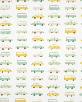 Tissu Casadeco Happy Dreams Vintage Cars Vert HPDM83247215