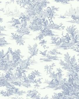 Papier peint Initiales Toiles Campagne Bleu clair AT4229