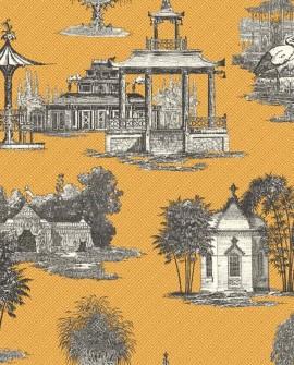 Papier peint Initiales Toiles Mandarin Jaune AF1916