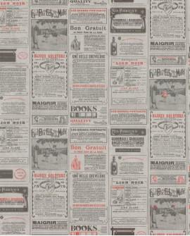 Papier peint WORDS NEWSPAPER Rouge WRD67138011