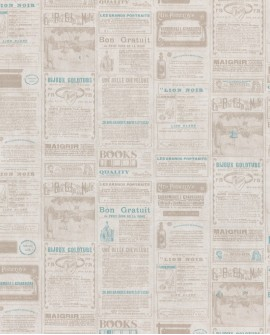 Papier peint WORDS NEWSPAPER Bleu WRD67136041